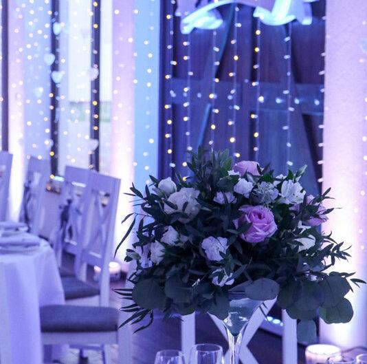 dekoracja wesele, dekoracja światłem sali Poznań