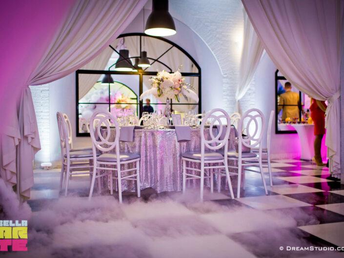 Ciężki dym i dekoracja światłem wesele Bydgoszcz, Toruń, Inowrocław